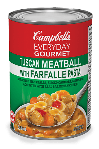campbell's everyday gourmet tuscan meatball with farfalle pasta
